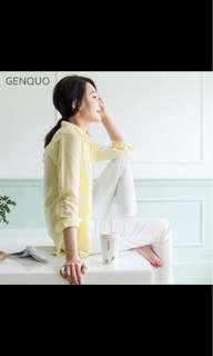 🚚 GENQUO 范范品牌:水藍色棉麻襯衫(可當小外套)