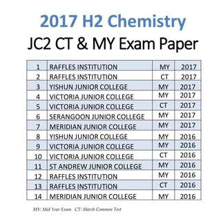 2017 JC2 H2 Chemistry common test / Mid year exam paper / Part 3 / H2 Chem / H2 Chemistry / JC / exam paper / past year papers / PART 3