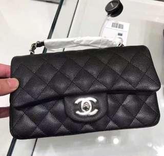 Chanel A69900 20cm 黑色牛皮銀鍊 現貨5個