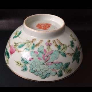 聽雨樓:#MFC-0108:【民國】早期粉彩牡丹紋茶碗一隻(12厘米,一丁點蟲咬)