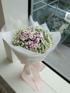 Sweet William and Baby Breath Bouquet