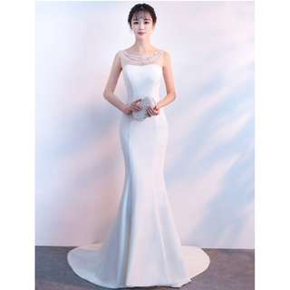 Gown Collection - Purely White Pearls Neck Design Ponytail Gown