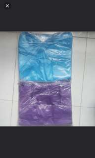 ( 25 packs ) Plastic bag carrier to clear ..  Yellow colour ( sold )   NOW left blue colour and purple colour.  ..Take all 25 pack ( mix colour ) for $ 45  Size is 33 cm X 50 cm .