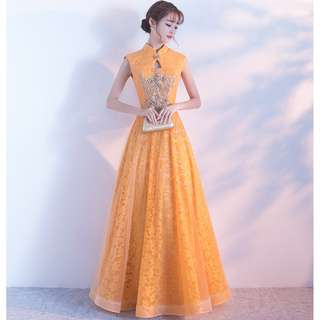Gown Collection - Golden Elegant Cheongsam Style Night Gown
