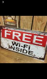 metal plate decor wifi inside red white