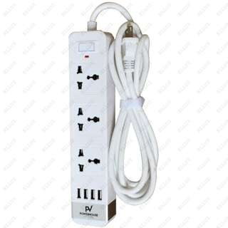 Powerhouse Voyager Smart Powertrip with 4 USB Outputs, White
