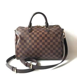 Preloved Louis Vuitton Speedy 30 Bandouliere Damier Ebene 2015 complete with strap, keylock, original receipt, dustbag, & box.