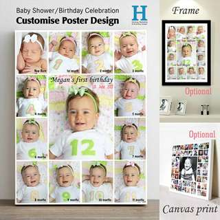 Customise Baby Shower/Birthday Poster Design