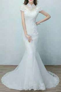 White FishTail Wedding Gown 鱼尾礼服