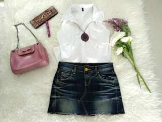 1 Set Rok jeans and white top