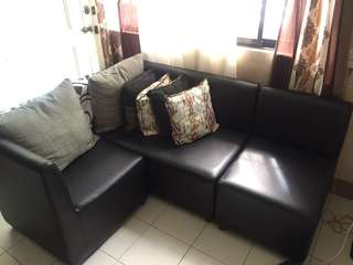 Movable Sofa Black Synthetic Leather