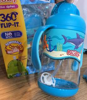 Nuby No-Spill™ 360˚ Straw Flip-it™ 防漏防裂360˚兩用飲管杯 400ml