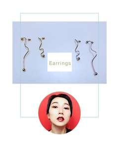 韓國簡約扭曲耳環(金色、銀色)