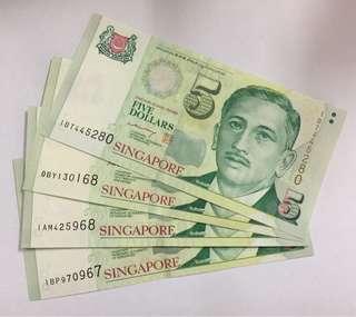Singapore $5 note