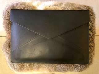 "Pure Leather 13"" Black Laptop Envelope Sleeve"