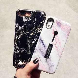(W)手機殼IPhone6/7/8/plus/X : 大理石紋配隱形支架指環全包黑邊軟殼