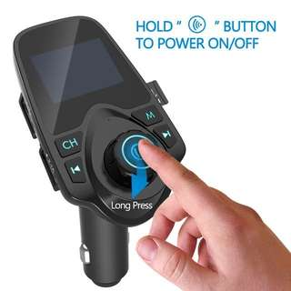 (472) Nulaxy KM19 USB Car Charger For Phone 2.1A Bluetooth Car MP3 Player Handsfree FM Modulator 1.44 Inch LCD Display FM Transmitter