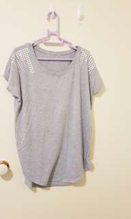 Grey tee with silver studs