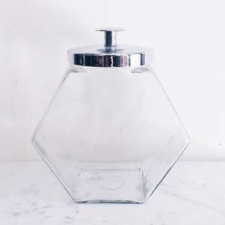 Vintage Hexagonal Glass Candy/ Cookie Jar