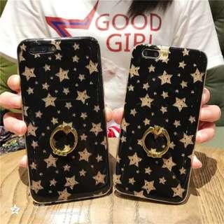 (W)手機殼IPhone6/7/8/plus/X : 烤瓷閃粉星星配指環全包透明邊軟殼