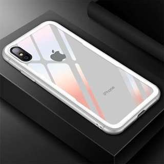 Cafele for iPhone X Case Glass + TPU Case WHITE