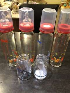 🚚 NUK標準瓶囗玻璃奶瓶四支