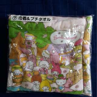 Sanrio lucky draw small towel with draw string pouch