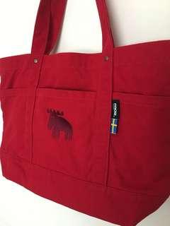 🚚 日本 MOZ 瑞典北歐風 麋鹿 手提包 自然風 手提袋 帆布包~#紅色#