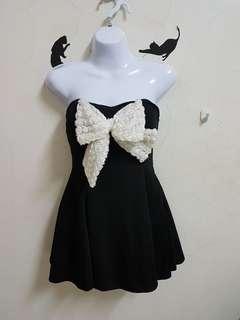 🚚 全新黑色蝴蝶結平口洋裝#黑色小禮服