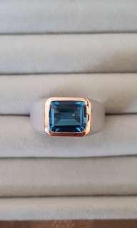 Blue Topaz  Mens Silver Ring