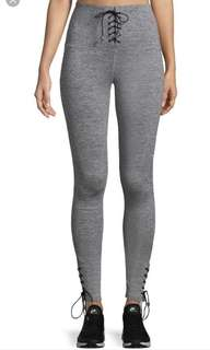 Electric yoga criss cross lace up , high waisted heather gray leggings in Size s