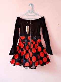 NEW WITH TAG...SABRINA POLKADOT DRESS FIT L
