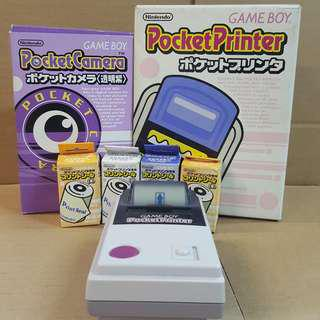 GAME BOY POCKET PRINTER + POCKET CAMERA 透明紫 + 9卷打印紙
