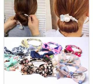 🚚 全新(三條一組)蝴蝶结珍珠盤髮器夏天髮束丸子頭美髮棒