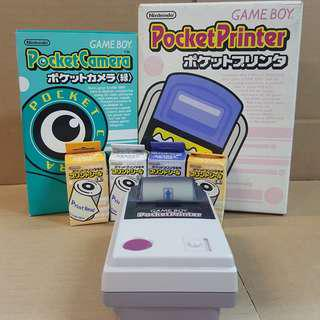 GAME BOY POCKET PRINTER + POCKET CAMERA 綠色 + 9卷打印紙