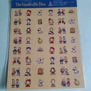 絕版 Sanrio The Vaudeville Duo 狗男女1995年出品貼紙