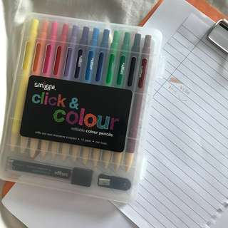 smiggle click & colour (refill colour pencils)