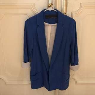 Zara basic blue blazer