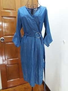 Wrap front asymmtrical midi dress