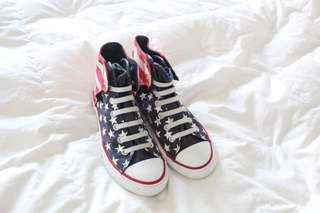 Preloved American flag slip on converse (nego)