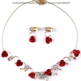 Fashion Red Flowers Decorated Jewelry Sets E69209