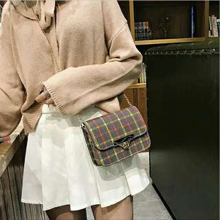 Oblique Plaid Small Bag