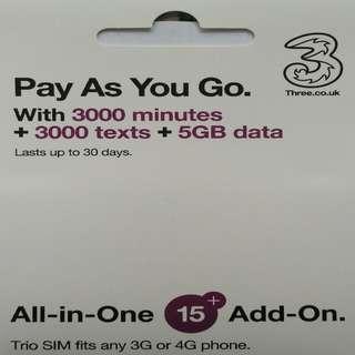 Europe 歐洲多國 上網卡 30日 4G 5GB 英國 或 3G 歐洲其他國家 數據卡 +3000分鐘英國當地通話 SIM CARD