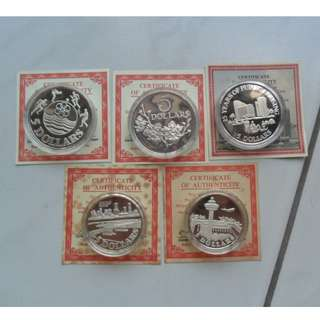 1981-1985 Singapore Unc $5 Silver Proof Coin ( Lot of 5 coins )