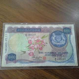 SINGAPORE $100 ORCHID SERIES BANKNOTE
