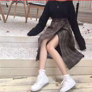 🚚 高腰復古開衩格子裙👗