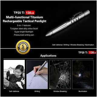 KLARUS TP20 Titanium Tactical Pen with 130 Lumens LED Flashlight