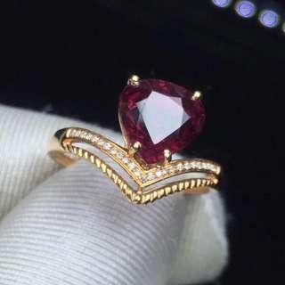 18K金鑲嵌鑽石 盧比萊碧璽戒指