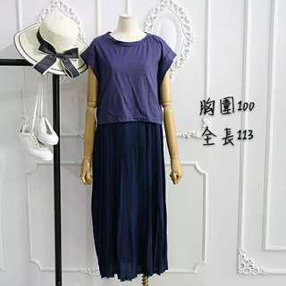 🚚 假兩件百折裙洋裝