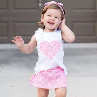 🚚 ✔️STOCK - 2pc PINK HEART WHITE TOP & PINK SKIRT BOTTOM SET BABY CASUAL TODDLER GIRL KIDS CHILDREN CLOTHING